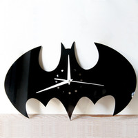 Wholesale Crafts Clocks - Halloween Stickers Living Room Wall Clock Creative DIY Wall Clock Watch Batman Acrylic Wall Clock Home Decoration Craft