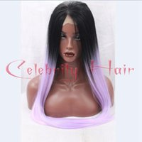 Wholesale wig light purple - Black ( 8inch ) ombre wig light purple natural looking long straight synthetic lace front wig heat resistant fiber wig