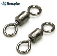 Wholesale Snap Swivels Wholesale - Rompin 50pcs lot fishing swivels Ball Bearing swivel with safety snap solid rings rolling swivel for carp fishing accessories