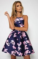 Wholesale Hot Women Short Skirts - Hot sale new European and American summer sexy halter fashion 3D print dress women sleeveless strap floral short skirt YYL010