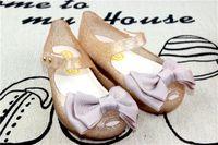 Wholesale Girl Bow Flats - 2007 New Summer Mini Melissa Shoes Children Bow Design Sandals Toddler Girls Ballet Flat Sandals 15-18cm Gold Pink Red 6