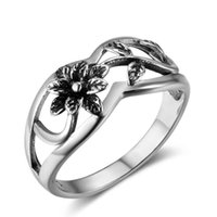 Womens Retro 925 Sterling Silver Rings Hollow Flower e Leaf Shape Fashion Jewelry Rings For Women