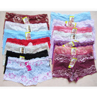 0282cc9e1a51 120PCS Wholesale Women Boxers Underwear Sexy Full Lace French Panties Shorts  Boyshort Ladies Knickers Intimates Lingerie for Women