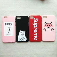 Wholesale Cover Iphone Order - For iPhone 7 plus Case 3D Kawaii Pig Pink Lucky 7 Cat Matte Full Cover for iPhone7 plus 6 s 6s plus 6plus Phone Cases coque fundas Mix order