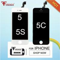 дигитайзер с сенсорным экраном iphone 5c оптовых-Для iPhone 5 5S 5C SE ЖК-Дисплей С Сенсорным Экраном Дигитайзер Полная Ассамблея Запасные Части Дешевой Цене 50 шт. / лот Черный Белый Бесплатная Доставка