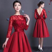 longos vestidos muito formal venda por atacado-Pretty Long Sleeve Red Curto Vestidos de Noite Cetim Apliques Formal Evening Vestidos de Festa de Formatura Vestidos de Ocasião Especial Vestidos