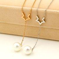 ingrosso collana coreana del diamante della perla-La versione coreana di W Diamond Beads appeso alla collana di perle di moda placcato in titanio 18K premio gioielli a catena corta sulla clavicola
