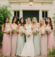 Wholesale Color 69 - Cheap Nice Chiffon Long $69 Bridesmaid Gowns Wedding Guest Dress Sexy Sweetheart Custom Made Pink Light Green Maid Of Bridesmaid dresses