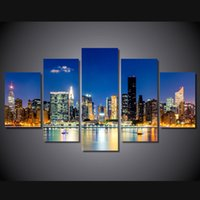 Wholesale Oil Painting Framed Abstract Building - 5 Pcs Set Framed HD Printed New York City Building Wall Art Print Poster Pictures Modern Canvas Abstract Oil Painting