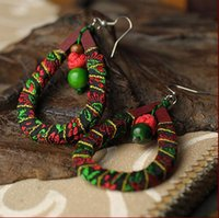 Wholesale Wooden Valentine Gifts - Handmade Earrings Vintage Knitting Wooden Fabirc Earrings Jewelry Chinese Ethnic Valentine Gifts Free Shipping Hot Sale