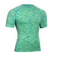 Wholesale Gym Shorts Clothing - Fitness Compression Shirts Mens Short Sleeves Bodybuilding Sport Quick Dry Tight T-Shirt Men Summer Tee Shirt Exercise Workout Gym Clothing