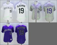 Wholesale Colorado Shorts - 2017 Flexbase Stitched Colorado Rockies 19 Charlie Blackmon White Gray Purple Red Jerseys Home Away Road Flex base Jersey Mix Order