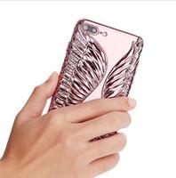 ingrosso ali delle mele-Ali di angelo di lusso placcato elettrodo in rilievo TPU copertura della cassa del telefono per iPhone 6 / 6s 6Plus casi proteggi telefono