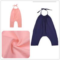 Wholesale harem pants for baby girls - Summer INS Kids Baby Black Pink Jumpsuits Toddler Boys Girls Romper Playsuit Blackless Harem Trouser Long Pant shorts for 2-8years
