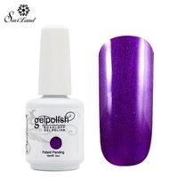Wholesale led gel primer - Wholesale-Saviland 1pcs 15ml Nail Gel Pure Glitter 58 Colors Nail Art Manicure Soak Off Primer Nail Top Coat UV LED Gel Lacquer