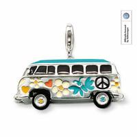 Wholesale Wholesale Wheel Charm - Wholesale-Volkgen bus PENDANT HIPPIE style, color glaze, lamp is with white zircon, the wheel can rotate Fit Bracelet TS-CH0644