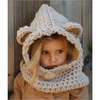 Wholesale Baby Western Hat - Everweekend Cute Girls Knitted Fox Ear Winter Hats Windproof Sweet Children Beige and Black Caps Western Cute Baby Accessories