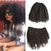 saç eklentileri klip rengi siyah toptan satış-4B 4C Afro Kinky Kıvırcık İnsan Saç Uzantıları Klip Brezilyalı Remy Saç 100% İnsan Saç Doğal Siyah Renk FDSHINE