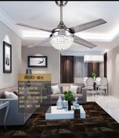 Wholesale Fans Ac - Fan ceiling pendant modern crystal ceiling pendant fan lights continental iron leaf fan With LED lights living room lights