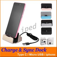 Wholesale Cheap Iphone Mobile Charger - Cheap For Iphone 7 Dock Charger Docking Stand Station Cradle For Micro USB Charge Sync Dock For Type C NOTE 7 Mobile Phone + Retail box