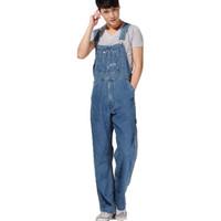 Wholesale Jumpsuits Patterns Free - Wholesale-Men's plus size overalls Large size huge denim bib pants Fashion pocket jumpsuits Male Free shipping