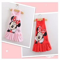 Wholesale Baby Pink Minnie Tutu Dress - Retail 2017 Kids girls clothes cute Mickey Mouse Minnie Dress, 2 colors of red and pink mini Clothes, baby girls clothing Q0393