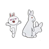 Wholesale dancing brooches pin - Wholesale- New Arrival 2016 Fashion Cute White Enamel Dancing Rabbit & Evil Two Rabbits Brooches For Women Girls Epoxy Brooch Jewelry