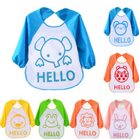 Wholesale Baby Bib Coverall - Long Sleeve Waterproof Coverall Baby Bibs Cute Cartoon Animals Toddler Newborn Translucent Plastic Soft Feeding Smock for Children Baby Burp