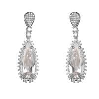Wholesale Red Cz Earrings - KIVN Fashion Jewelry Drop Dangle Royal Blue Pave CZ Cubic Zirconia Wedding Bridal Earrings for Women