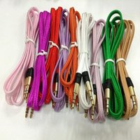 Wholesale audio plugs - 3.5mm noodles Flat fabric braid wire 8colors Plug stereo Aux Audio Cable for IPod iphone Mp3