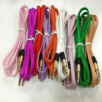 cable plano de fideos trenzado al por mayor-Cable de audio estéreo para enchufar el cable de audio trenzado de la tela plana de los tallarines de 3.5mm para iPod iPhone Mp3