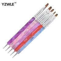 Wholesale designed nail 24 - Wholesale- YZWLE 5Pcs Pack 2-Ways Nail Pen Acrylic UV GEL Nail Art Dotting Brush Pen Builder Liner Design For Acrylic Nail Brushes 24