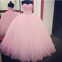 Wholesale Custom Design Quinceanera Dresses - 2018 New Design Baby Pink Quinceanera Dresses Ball Gown Floor Length Tulle Sash With Beaded Crystals Custom Made Prom Dresses evening gown