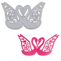 Wholesale Cards Design Handmade - 1 Set Lover Swan Design Cutting Dies Stencils for DIY Scrapbooking Decorative Craft Album Embossing Handmade Metal Paper Cards