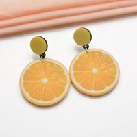 Wholesale lemon drop for sale - Group buy New Yellow Fruit Big Round Statement Dangle Earrings Lemon Lime Acrylic Drop Earrings for Women Girls Gift Fashion Jewelry