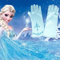 Wholesale Fancy Patterns - Fancy 6 Colors Frozen Anime Figure Girls Gloves with Snow Pattern children Elsa Anna Princess sets Wedding Silk Gloves Gifts for kids
