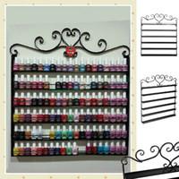 Wholesale Rack Nails Wall - Wholesale- Heart Black Metal Nail Polish cosmetics Display Wall Rack Fit Up To 108 Bottles makeup storage box