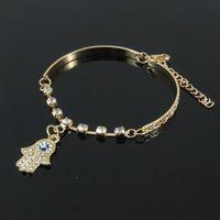 Wholesale Pave Diamond Bracelet Wholesale - New Fashion Fatima Hand Charm Bracelet Paved Crystal Bracelets for Women Gifts Gold Bracelet Jewelry Good Quality Bangle