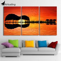 Wholesale Tree Picture Frames - 3 piece canvas wall art HD Printed guitar tree lake sunset Painting room decor print poster picture Free shipping CU-1311B
