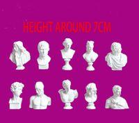 Wholesale Kinder Figures - 10pcs Set European famous small bust statue figure resin character Mini gypsum david head statue Art sketch teaching home decor