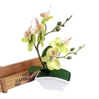 Wholesale Red Orchid Plants - Wholesale-Double Fork Butterfly Orchid Plant Bonsai Creative Flower Arranging Accessories high quality Artificial Flower bonsai