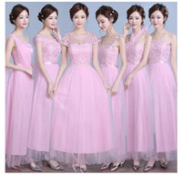 Wholesale Stocking Cap Wholesale - DHL fast ship 2017 Pink A Line Maid of Honor Gowns Cheap Long Bridesmaid Dresses Tiers Chiffon Summer Beach Bridesmaid Gowns Have in stock