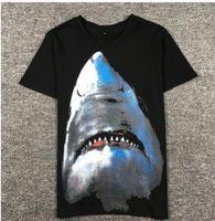 Wholesale Yeezus Shirt Xl - shark T Shirt Men Top Quality 100% Cotton Hip Hop aapes Street Short Sleeve Tees Kanye West Yeezus Couple T Shirt