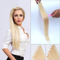 Wholesale New Remy Tape Hair Extensions - New Arrived 40pcs 100g Peruvian Tape in Human Hair Extensions Straight Skin Weft 7A Remy Tape in Human Hair Extensions