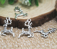 Wholesale Antique Reindeer - 30pcs-- Reindeer Charms, Antique Tibetan silver deer charm pendatns 20x14mm