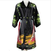 Wholesale national robes online - Plus Size XXXL Sexy Black Chinese Women Silk Robe National Lingerie Nightgown Short Sleepwear Kimono Bath Gown Pijamas