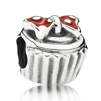 sports cupcakes - Authentic Sterling Silver Bead Charm Red Enamel Bowknot Cupcake Beads Fit Women Pandora Bracelet Bangle DIY Jewelry HKA3523