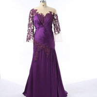 Wholesale Gowns For Fat Sleeves - 2017 Purple Plus Size Mother Of The Bride Dresses Sheath Long Sleeve Applique Lace Elegant Evening Party Gown For Fat Women Real Photo