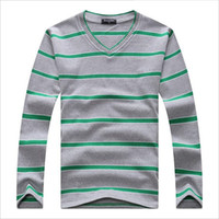 Wholesale Cheap Pullover V Neck Sweaters - Wholesale- Cheap Mens Sweater Fashion Famous Brand V-Neck Pullovers Wholesale Stripes Cotton Daily Casual Plus Size Winter Sweater Men