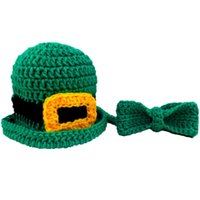 Wholesale Baby Bowler Hats - Crochet Baby Leprechaun Bowler Hat and Tie Set,Handmade Baby Boy Girl St Patrick Day Hat,Bow Tie,Irish Hat,Infant Photo Prop